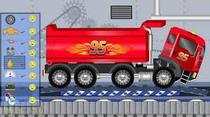 lightning mcqueen monster truck videos disney lightning mcqueen big truck toys factory for kids