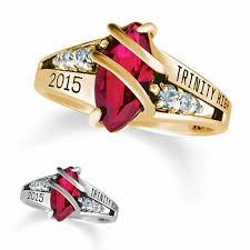 highschool class ring 10k gold seaswirl diamond high school high school class