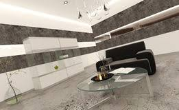 Interior Stone Tiles White Bathroom Interior With Concrete Walls And Tiled Floor Stock