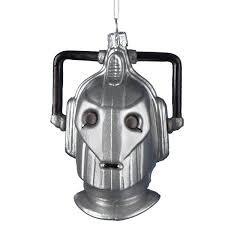 who cyberman head glass christmas ornament
