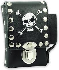 skull cross bones leather cigarette lighter for regular size