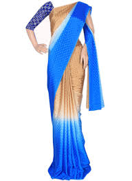 orange and blue combination buy golden and electric blue combination crepe saree with polka