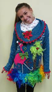 light up ugly christmas sweater dress 3 d flamingo tacky ugly christmas sweater dress with pompom trim