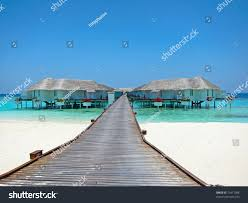 maldive water villa bungalows white beach stock photo 75411088