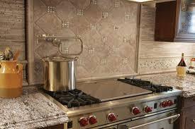 Kitchens - Travertine mosaic tile backsplash