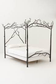 gray polished wrought iron double bed with canopy combination with
