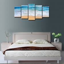 wall art outstanding beach canvas wall art coastal wall decor beach wall art canvas beach wall art decor 5 panels beach scene pictures grey wooden bed