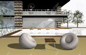 3d render of modern house exterior with bar and swimming pool
