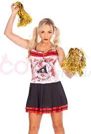 Zombie Cheerleader Ladies Halloween Zombie Bloody Cheerleader Costume
