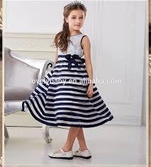 2015 new model dresses for girls navy blue dress kids clothing