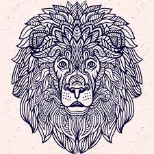 detailed lion aztec filigree art style tattoo coloring