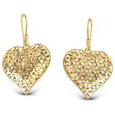 gold kaan earrings heart drop earrings jewellery india online caratlane