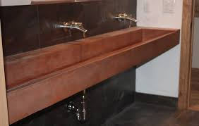 bathroom simple trough sink two faucets comes with practical idea