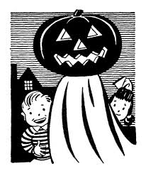 retro clip art pumpkin head ghost with kids the graphics fairy