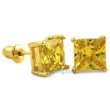 gold studs earrings yellow cz diamond square stud earrings gold cz diamond studs