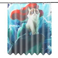 Waterproof Fabric Shower Curtains Aliexpress Com Buy Custom Grumpy Cat Of Little Mermaid