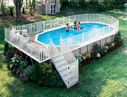 cheap outdoor pool design with oval above ground pool decks and