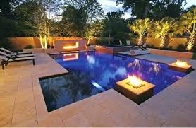 Outdoor Fireplaces And Firepits Pool With Fireplace Modern Pool Design With Linear Outdoor