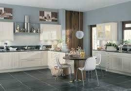 Black White Kitchen Ideas by Scope Ivory Blue Walls White Kitchen Black Marble Worktop Kitchen