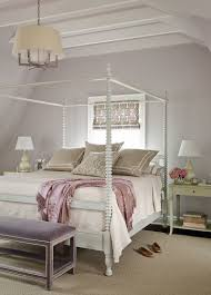 minimalist bedroom design with purple faux leather bench cream
