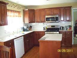 heavenly l shape small kitchen decoration using cherry wood