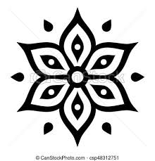 indian henna inspired flower shape with inner floral star vector