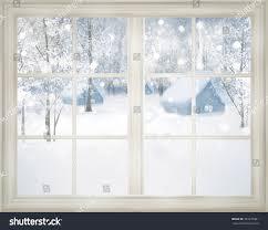 window winter view snowy background stock illustration 225276481