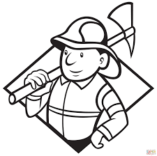 fireman with axe coloring page free printable coloring pages