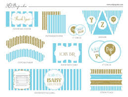 Blue And Gold Baby Shower Decorations by Baby Shower Decoration Printable Templates Pop Blue U0026 Gold U2013 Xo