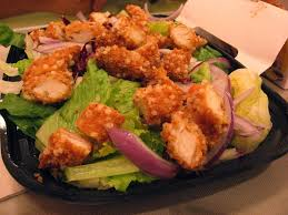 soy sal sal rice crispy chicken salad and sweet soy sauce