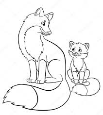 coloring pages wild animals mother fox cute baby