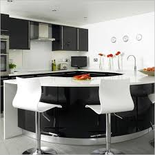 black and white kitchen design with red accessories outofhome
