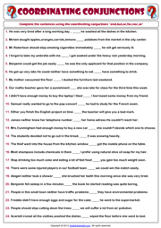 conjunctions esl printable worksheets and exercises