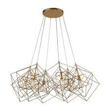 titan lighting box cluster 6 light gold leaf pendant tn 66328