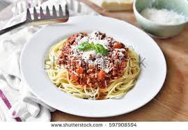 cuisine decorative spaghetti bolognese on white plate decorative stock photo 597908594