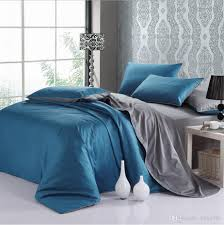 modern design solid color blue u0026gray queen king size bedding set