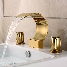 Bathroom Sinks And Faucets Two Handle Gold Plated Three Sets Of Waterfall Bathroom Sink