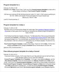 baby funeral program sle child funeral program template 6 free documents
