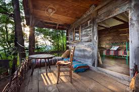 wooden house in forest house made of natural materials stock