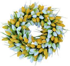 Tulip Wreath Yellow Silk Tulip Door Wreath 22 In The Wreath Depot