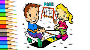 how to draw park and playground learning color with coloring