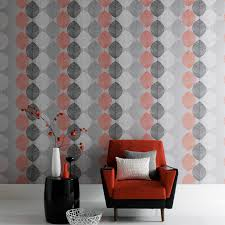arthouse retro leaf wallpaper in orange and silver 408203