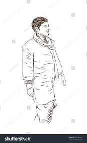 hand drawn sketch man walking muffler stock vector 707868943
