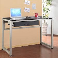 Black Glass Top Computer Desk Glass And Metal Computer Desk With Drawers Home Furniture Decoration