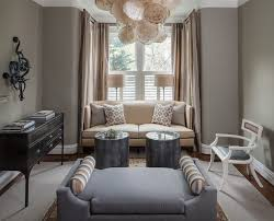 layered window treatments living room traditional with round side