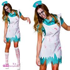 ladies zombie halloween nurse bride convict dead fancy dress