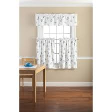 mainstays seashell toss printed valance and kitchen curtains set