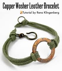 bracelet patterns leather images Rustic copper washer leather bracelet tutorial jewelry jpg