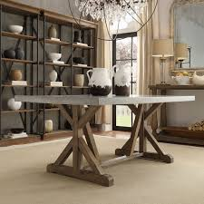 Kitchen Tables And More by Homehills Ellary Rustic Pine Concrete Topped Trestle Base Dining