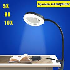 le de bureau loupe table loupe 5x125 mm clip sur le bureau loupe avec led le lupa